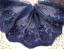 Navy Blue Snowflake Lace Trim Embroidery Tulle Lace Trim Accessory 3.93 Inch