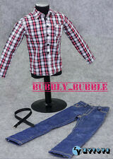 "1/6 Red White Plaid Long Sleeves Shirt Jeans For 12"" Male Figure SHIP FROM USA"