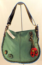 Chala Purse Handbag Leather Hobo Cross Body Convertible  Lady Bug Teal Bag
