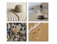 4 Framed Pictures Photo Print Art Canvas Beach Sand Modern Painting Wall Decor