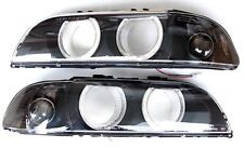 BMW 5 1996-1999 E39 Angel Eye headlight lenses LEFT+ RIGHT smoked