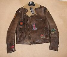 "BNWT MATCHLESS ""WILD ONE"" SHEARLING JACKET ANTIQUE CUERO XL ( LARGE in REALITY )"