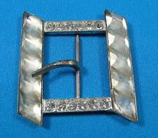 Vintage Large Diagonal Cut White Rhinestone Glass Silvertone Metal Belt Buckle