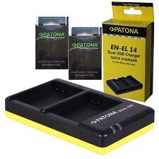 x2 batterie en-el14 patona premium +caricabatteria MH-24 2 slot patona x en-el14