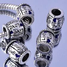 5Pcs White  Silver Filled Heart Enamel Charms Beads Fashion Womens DIY Bracelet