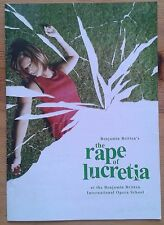 The Rape of Lucretia programme Benjamin Britten International Opera School 2004