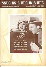 "GRACIE ALLEN MURDER CASE Sheet Music ""Snug As Bug In A Rug"" Gracie Allen 1939"