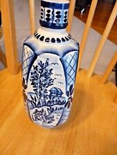 "Russian Gzhel Porcelain Vase souvenir signed by author 10"" tall, 4"" diam"