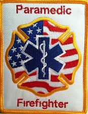 Paramedic Firefighter Logo / Emblem Iron On Patch Gold Border