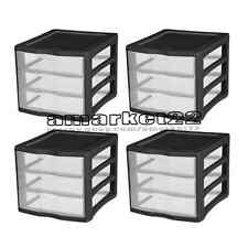 Plastic 3 Drawer Desktop Storage 4 x Solutions Sterilite Home and Office Black