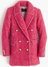 $325.00 J Crew 10 Diamond Tweed Coat Sorbet Medium Dress Y Pink Sorbet Ivory NEW