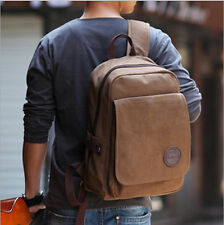 Men's Vintage Canvas backpack Rucksack laptop shoulder bag travel Camping bag