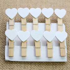 10Pcs Cute White Love Hearts Wooden Clips Photo Clips Crafts Wedding Party Decor