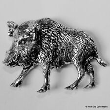 Wild Boar Pig Left Pewter Brooch Pin - British Artisan Signed Badge - Hunting