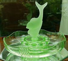 Art Deco Glass : A 30's green Depression DOLPHIN Centerpiece by Josef Inwald