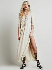 $148 Free People Sophie Relaxed Flowy Pintuck Side Slit Long Dress XS Champagne