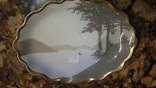 "Antique Dresden B.T Co. Germany White Swan 6"" Porcelain Dish Plate 1890-1920"