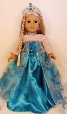"Doll Clothes Elsa Dress Costume + Crown Fits American Girl Doll, 18"" Dolls"