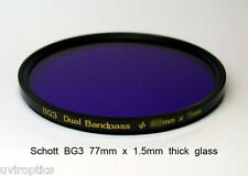 Schott BG3 77mm x 1.5mm thick UV Bandpass Camera Filter, Dual Band UV IR