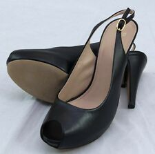 "Hugo Boss Black ""Nicoba"" High Leather Slingback Heels sz 10 $345 Made in Italy"
