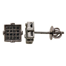 925 Sterling Silver MicroPave Cubic Zirconia Screw back Stud Earrings 7mmx7mm