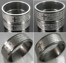 50x Etch English Lord's Prayer/Serenity Prayer Men's Bibie Stainless Steel Rings