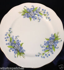 """QUEEN ANNE ENGLAND QUA3 FORGET ME NOT SALAD PLATE 8 1/4"""" GOLD TRIM FLOWERS"""