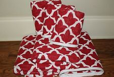 New Pottery Barn Marlo jacquard organic towels 3 bath & 3 hand towels cherry red