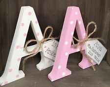 Shabby Chic Wooden Personalised Letter Initial Free Standing Baby Girl Boy Gift