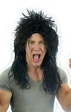 Mens Black 80's Alice Hard Rocker Heavy Metal Kiss Punk Wig Fancy Dress Costume