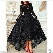 High Low Black Lace Evening Dress Long Sleeves Party Prom Gown Custom Size 2-24+