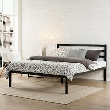 Platform Metal Bed Frame With Headboard Queen Wood Slats Modern Black Zinus New