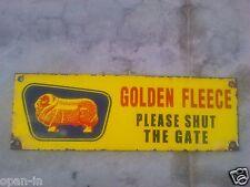 Old Collectible Golden Fleece Door Porcelain / Enamel Metal Sign 12''