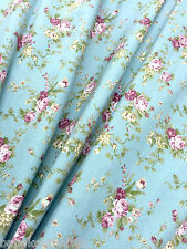 FATIGUE BLUE ROSES PRINT 100% COTTON FABRIC CRAFT SKIRT BAGS UPHOLSTER