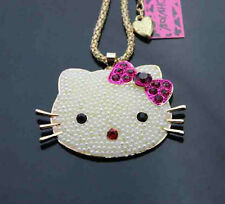 H528     Betsey Johnson Crystal Enamel  Cute Cat head Pendant Necklace