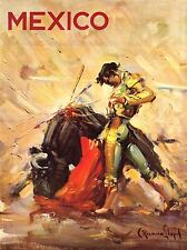 ART PRINT POSTER TRAVEL PAINTING MEXICO MATADOR BULLFIGHT NOFL1130
