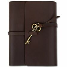 Ancicraft Refillable Leather Journal With Key Lined Notebook Brown A5 Cover Gift