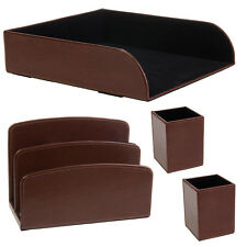 4pc CR Gibson Leather Desk Accessories Organizer Set Letter Tray Holder Pen Cups