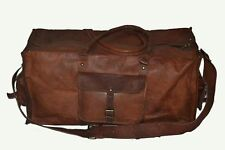 "24""Men's genuine Leather large vintage duffle travel gym weekend overnight bag"