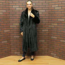 ladies real BLACK RANCH Canadian MINK FUR COAT pristine clean MEDIUM free ship