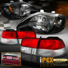 1999-2000 Honda 2Dr Coupe Civic JDM Black Headlights W/ Type-R Red Tail Lights