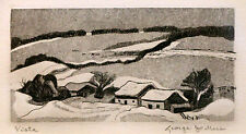 "George Jo Mess ""Vista"" 4x2"" signed Aquatint Etching, INDIANA Historic Art"