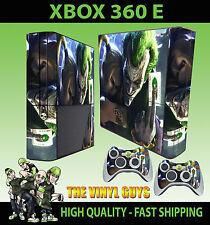 XBOX 360 E JOKER AND HARLEY CRAZY LOVE GOTHAM STICKER SKIN & 2 PAD SKIN