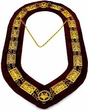 MASONIC REGALIA SHRINER SPHINX DRESS GOLDEN METAL CHAIN COLLAR MAROON VELVET