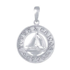 925 Sterling Silver Travel Charm Pendant, Turks and Caicos, Sailboat Center