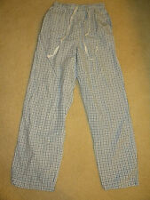 Vtg JCrew blue white plaid check 100% cotton XS Small Pajama PJ Pants drawstring