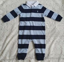 New Baby Boys Ralph Lauren Long Sleeves Body Suit/Romper 9M
