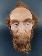 Vintage Antique Wax Head Hair Church Christian Mannequin Bust Glass Eyes Male 6