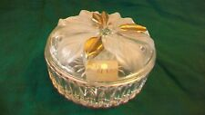 Cut Glass with Raised Details Round Trinket Box with Lid, Flowers Studio Nova