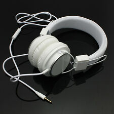 White Adjustable Over-Ear Earphone Headphone Headset & Mic for iPod PC Cellphone
